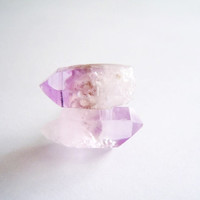 Raw Stone Crystal Stud Earrings - Tiny Amethyst Points - Natural Gemstones