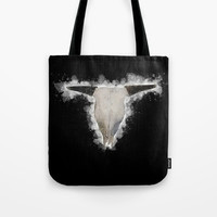 Bull Skull Black Background Tote Bag by Claude Gariepy