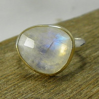 Rainbow Moonstone 14k Gold & Sterling Silver by PointNoPointStudio