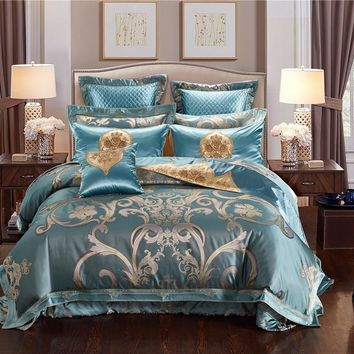 4/6/10 Pcs Blue jacquard luxury European bedding sets king queen size Egypt cotton duvet cover bed spread flat sheet set pillow