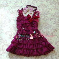 Girls Lace Dress/ Raspberry Lilac Butterfly Dress set
