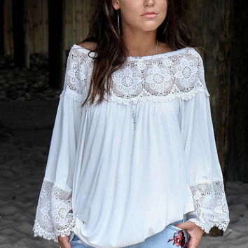 Good To Me White Woven Tunic Bell Sleeves