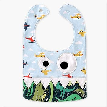 Big Eye Monster With Cute Teeth Design Baby Bibs Soft Infant Saliva Towel Toddler Absorbent Dribble Feed Care Burp Cloth