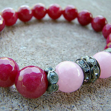 Gemstone Bracelet, Stretch Bracelet, Pink, Beaded Bracelet, Stackable Bracelets, Semi Precious Stones, Jade, Stretchy Bracelet, Gift for Mom