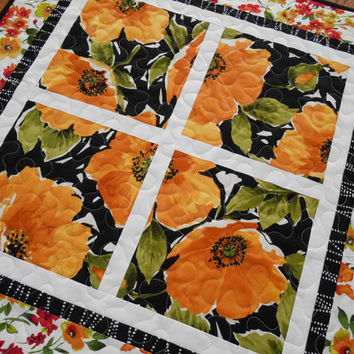 Quilted Square Table Topper with Golden Yellow Roses - Black and White Table Quilt - Floral Quilted Table Mat - Red Pink Yellow Orange Green