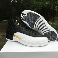 Air Jordan Retro 12 Wings Men Basketball Shoes 12s Wings Discolor Gold 12s Master Sports Shoes With Box