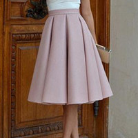 Pink High Waisted Pleated Midi Length Skirt
