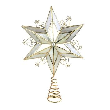 Capiz 6-Point Star Christmas Tree Topper, Gold, 10-1/2-Inch