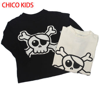 CHICO 16 NUNUNU Skull Long Sleeve T Shirt, KIKIKIDS Solid Terry T Shirts W/ Two Colors, Toddlers Kids Long Sleeve T Shirts