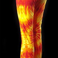 Tie Dye Solar Flare Yoga Pant - Hand Dyed Dance Apparel - Fold Over Waist - Flared Leg