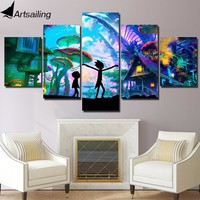 ArtSailing 5 Panel Wall Art Canvas Psychedelic Modular Pictures Canvas Rick and Morty Starry night Poster for Kids Room Decor