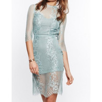 Light Blue Half Sleeve Mesh Floral Dress