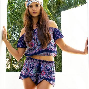 Boho Print Top and Short Two Piece