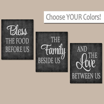 KITCHEN Wall Art, Canvas or Prints, Kitchen Quote Artwork, Bless the Food,Family Love Between Us, Choose Colors Set of 3 Home Decor Pictures