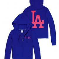 Los Angeles Dodgers Bling Perfect Full Zip Hoodie - PINK - Victoria's Secret