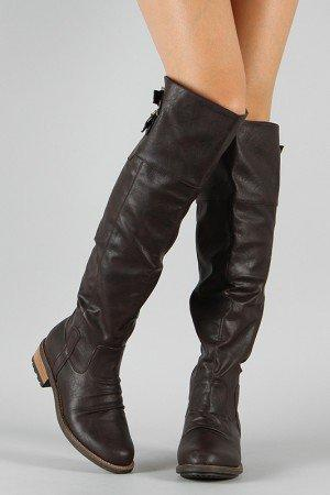 Qupid Relax-01X Buckle Knee High Boot