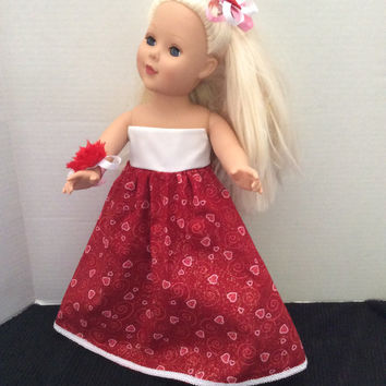 American Girl 18 Inch Doll Baby Doll Clothes Doll Dress Valentine Gown W/Hairbow And Corsage By Sweetpeas Bows & More