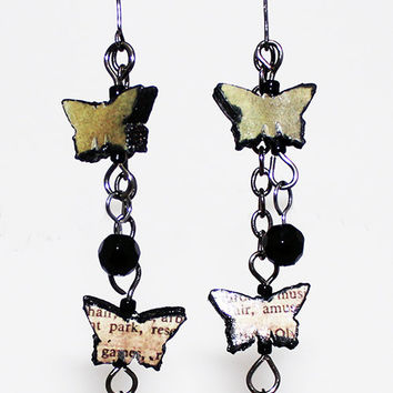Hand cut & pressed Paper Beaded Vintage Butterfly Earrings