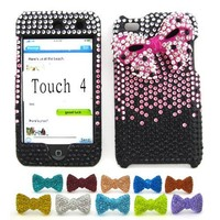 "Apple iPod Touch 4 (4th Generation) ""Pink Ribbon"" Rhinestone Hard Case + 1 Rhinestone Bowtie Dust Plug"