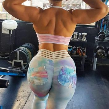 White Pleated Rainbow Pockets Tie Dye High Waisted Sports Yoga Workout Long Legging