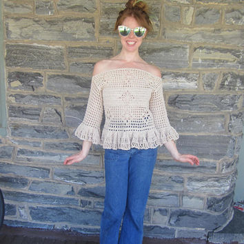 OFFSHOULDER SWEATER,  Bohemian clothing, crochet sweater  festival clothing, beachcover,  beachwear, jumper, boho ruffled top, gypsy wear