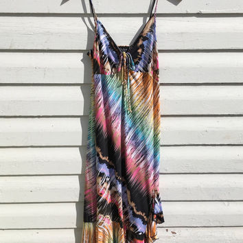 Vintage 90s Disco Rainbow Salsa Dress Pride Pastel Hippie Size Medium