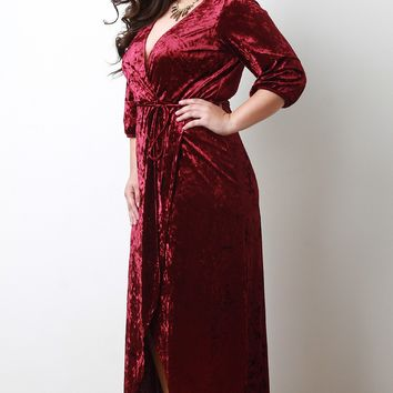 Surplice Crush Velvet Wrap Maxi Dress