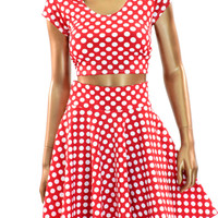 Red & White Polka Dot Pinup Circle Skirt & Crop Top Set