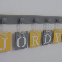 Wooden Alphabet Letters in Grey and Yellow Set Hanging on 6 Wooden Hooks for Baby JORDYN