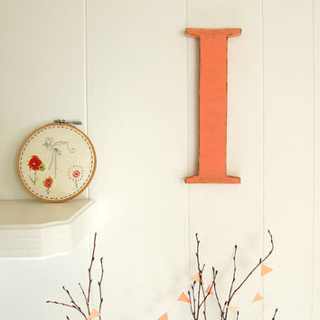 "wall decoration Letter I wood letter coral melon 12"" cottage chic distressed"