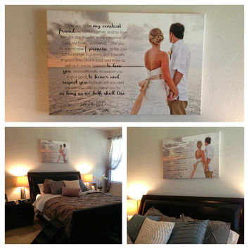 Your Photo Words Wedding Art Canvas Gallery Wrap , Engagement  Anniversary Just Married Photo 20X30