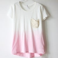 Lace Pocket Gradient t-shirts