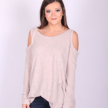 Keeping Cozy Cold Shoulder Top