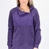 Quilted Snap Fleece Pullover {Plum}