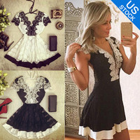 Sexy Women V Neck Short Sleeve Lace Short Evening Cocktail Wedding Mini Dress