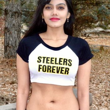 Steelers Forever Short Sleeve Raglan White and Black Crop Top / Made in USA