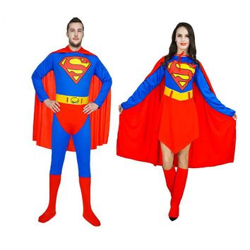 Adult Superman Costumes Red Blue Lycra Spandex Full Body Superhero Zentai Suits Super Hero Cape For Woman And Men Cosplay Outfit