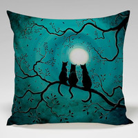 three black cats under a full moon Square Pillow Case Custom Zippered Pillow Case one side and two side