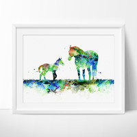 Horse Family Watercolor Print, Nursery Art Print, Watercolor Painting, Horse watercolor, Animal Art, Children's Wall Art, Decor (133)