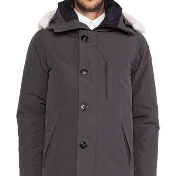 Canada Goose Chateau Parka With Coyote Fur Trim In Gray| Best Deal Online