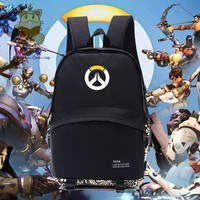 Game fans gift OW fans backpack OW logo printing black daily use backpack for student  for gamers for boyfriend gift NB001