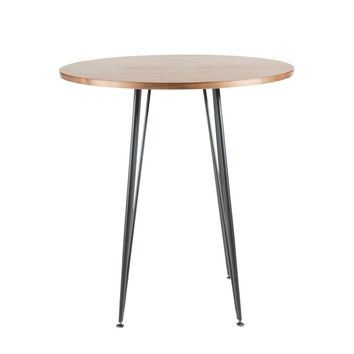 "Amir 36"" Round Counter Table in Walnut with Black Powder Coated Steel Legs"
