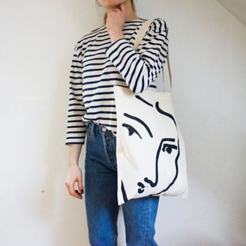 The Nadia tote bag - Matisse hand painted organic cotton tote bag