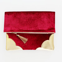 TOUCH 4 / Coral velvet & Natural leather folded clutch - Ready to Ship