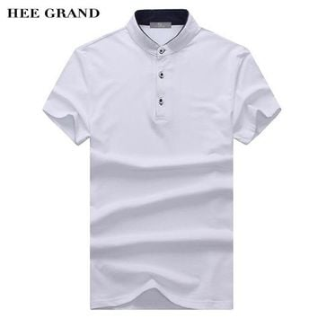 HEE GRAND Men Summer Polo Shirt 2018 New Arrival Stand Collar 100% Cotton Breathable Material Male Solid Polo Shirts MTP459