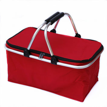 Outdoor Camping Folding Cooler Insulated Picnic Baskets 600D Oxford /Aluminum Frame Handles Foldable Shopping Basket