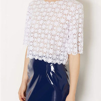 White Floral Lace Short Sleeve Scalloped Cropped Top
