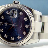 Rolex Datejust White Gold Steel Blue Jubilee Diamond 116234 Oyster - WATCH CHEST