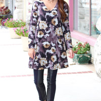 Wild Fall Florals Sweater Dress {Plum Mix}