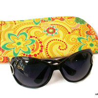 Bright Yellow with Blooms and Swirls Slide in Sunglass Case or Eyeglass Case Choose Your Size